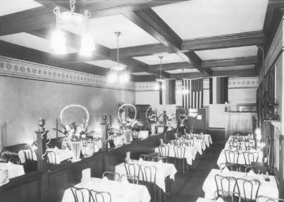 Interior of the Pekin Restaurant, Bangor, c. 1920.
